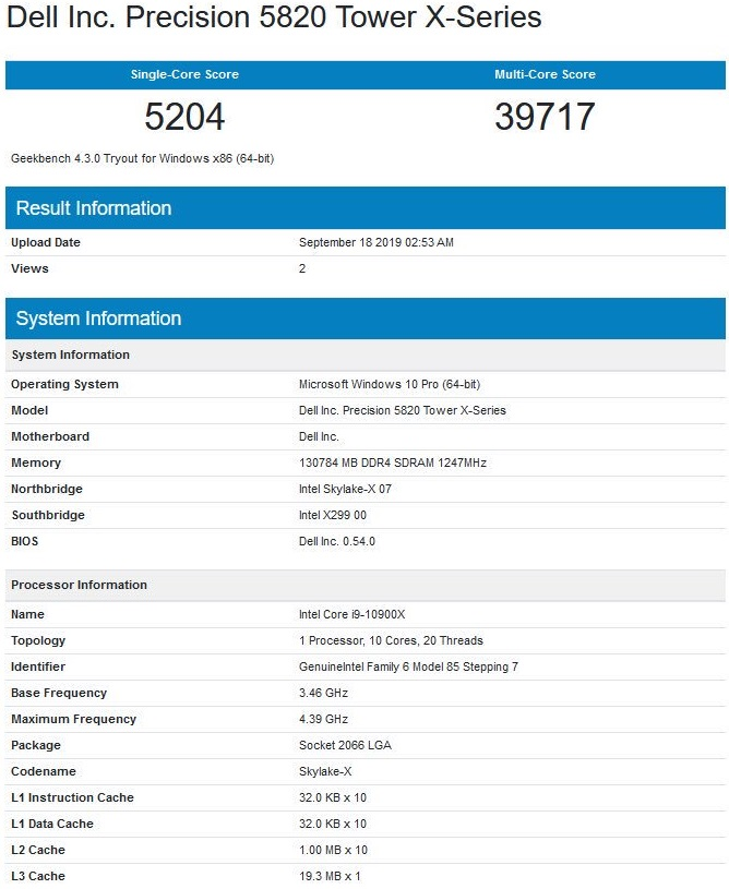 125257 intel core i9 10900x geekbench 1